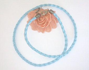 3 sky blue vegan leather 44 cm (26) braided Choker