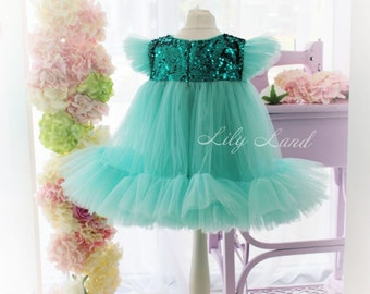43eb5b9b6d8 Mint Summer Dress Toddler Baby Girls Princess Dress cap Sleeves Tulle  Sequin Dress girl dresses light dress party any size 1 2 3 4 5 6 8 10