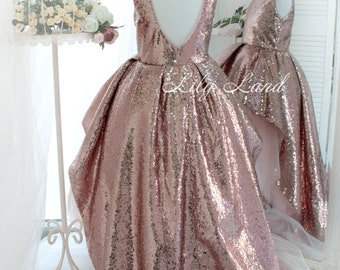 c2bd802b2243 Rose Gold sequin Girl dress with train tutu dress girls dress for baby dress  with sparkling tutu dress toddler tulle size 6 9 12 18 24 month