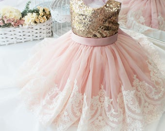 b53a5f5dea2b Birthday dress for babies gold   ivory lace dress Dress with bow Dress for  girls birthday Tutu dress for kids Tutu dress Dress christmas