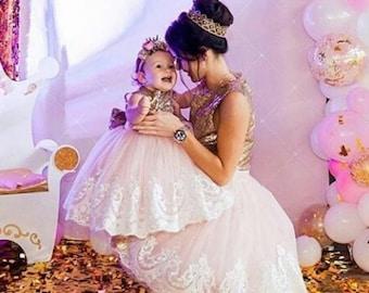 36e30b2bdb Pink mother daughter matching dress mom and daughter matching dresses mom  and baby ivory lace dress pink dress baby dress toddler dress