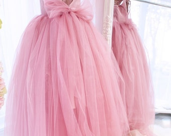 Pink Girls Dress Tulle Girl Toddler Tutu Custom Made Velour Birthday Full Length