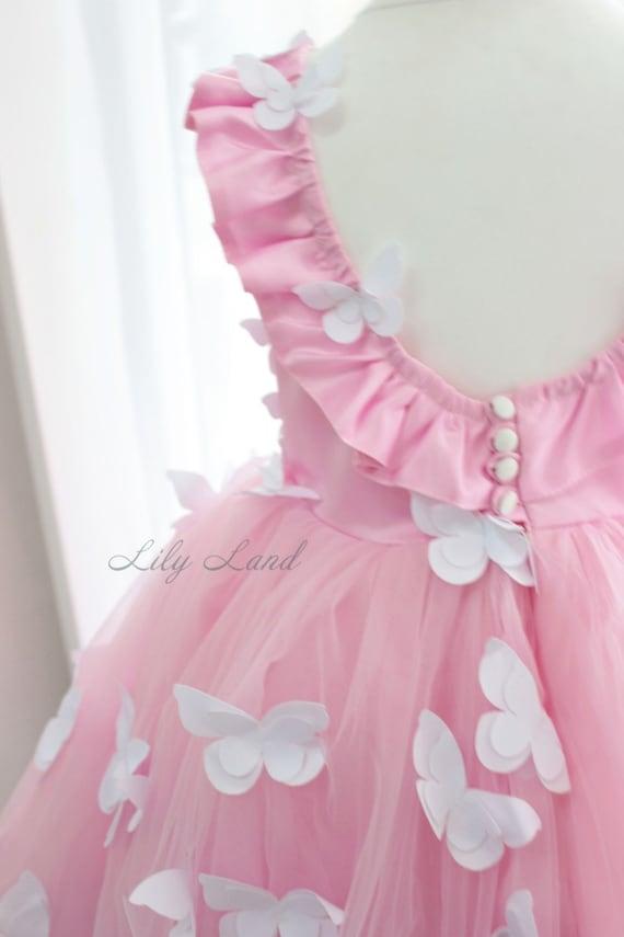 4888a7e1 Butterfly Applique Dress pink flower girl dress dress with   Etsy