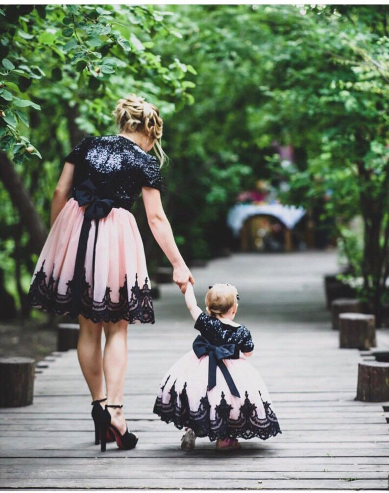 edf4d09a Black Mother daughter Matching dresses flower lace dresses | Etsy