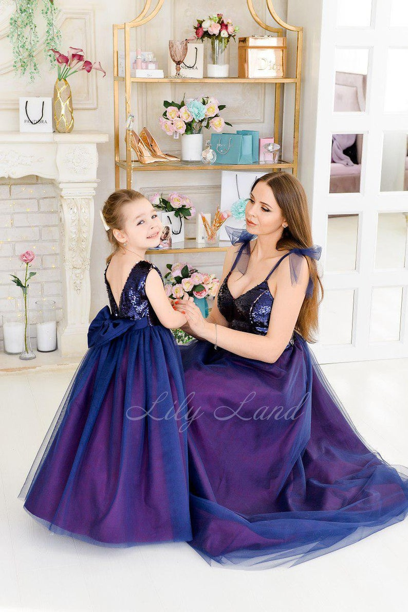 Matching Dresses Mother Daughter Navy Blue Purple Dress For Wedding Guest Mommy And Me Formal Dresses Matching Outfit Evening Maxi Dress