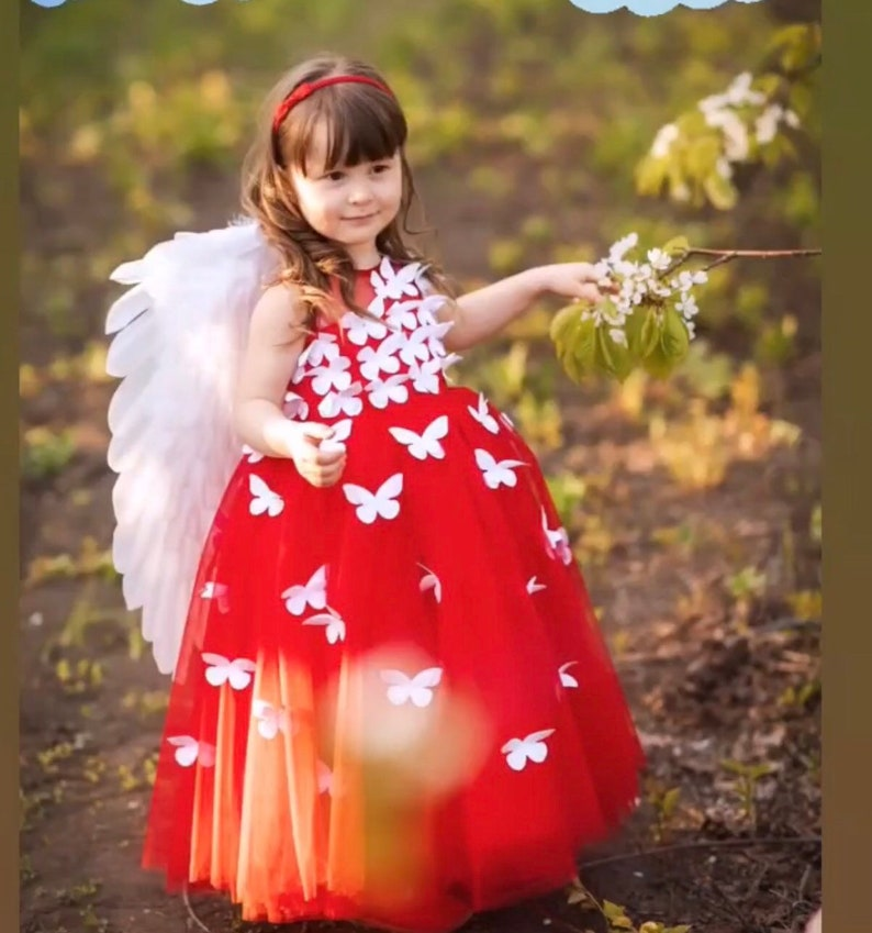0f817e07f14e Red girls dress with butterfly red tulle dress maxi dress for | Etsy