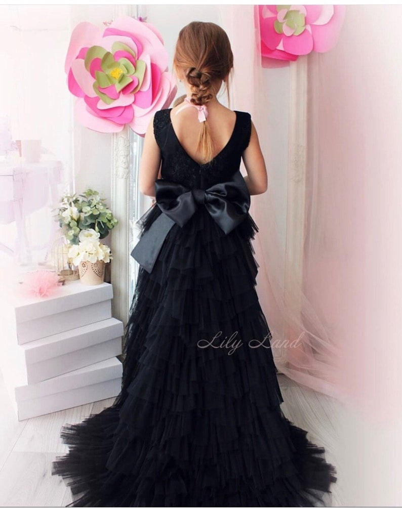 274b856d7d894 Black Flower girl dress girl lace dress with train dresses for girl toddler  party dress tulle dress full length dress tutu dress baby girl