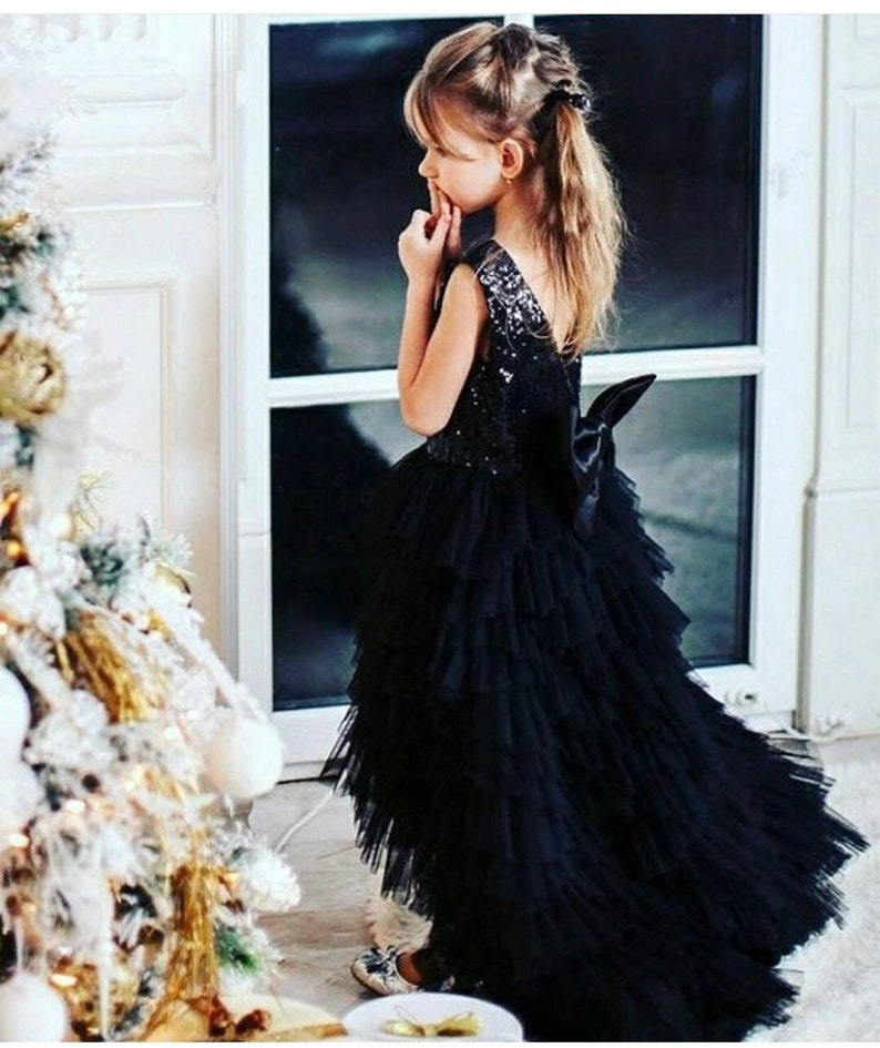 b3b5bf6f9727 Black Flower girl dress girl sequin dress with train dresses | Etsy