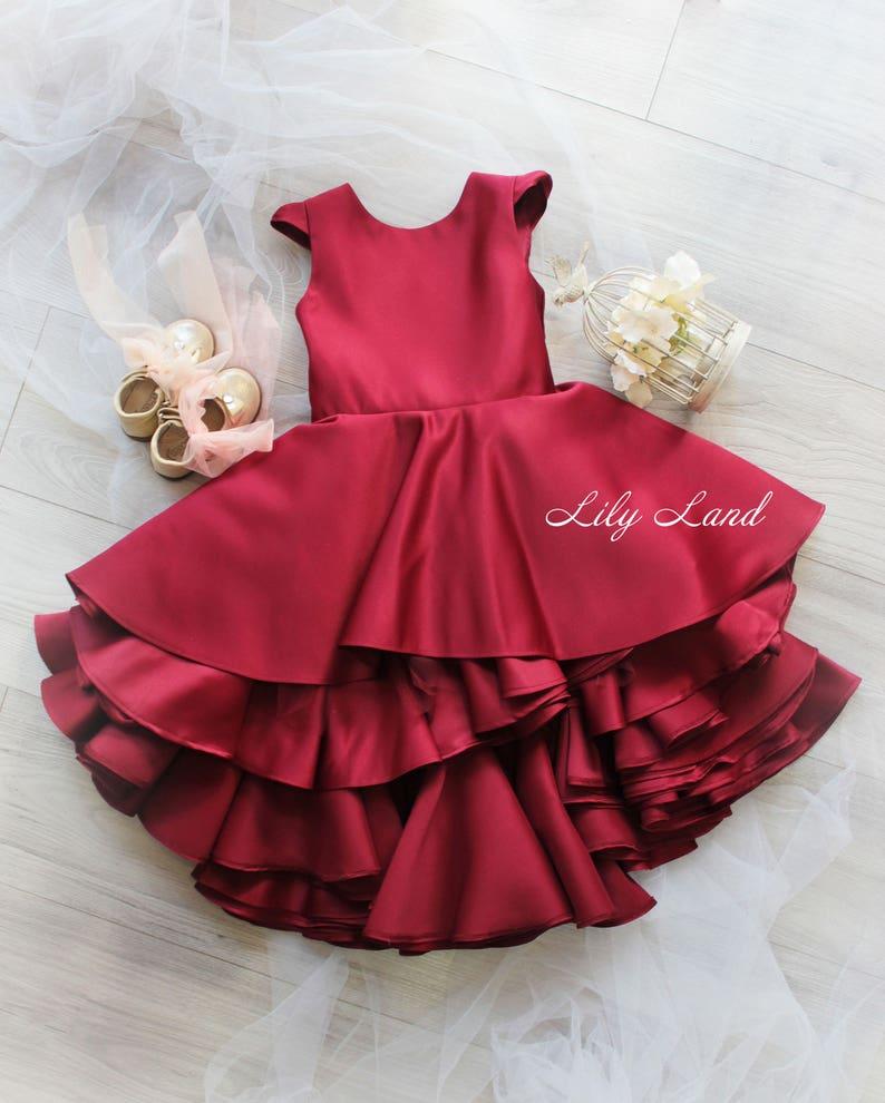 b22ca305423f Burgundy girls dress ruffle girl dress wine red dress baby   Etsy