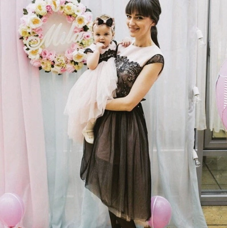 8b23f7d0e6bf Pink blush Mommy and Me outfits Lace dress Mother daughter   Etsy