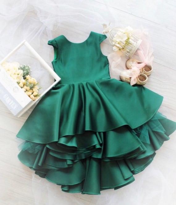 Christmas Green Dress.Emerald Green Dress Girls Dress Low High Dress Christmas Girl Dress Girls Ruffle Dress Size Holiday Dress For Girl Party Girl Dress