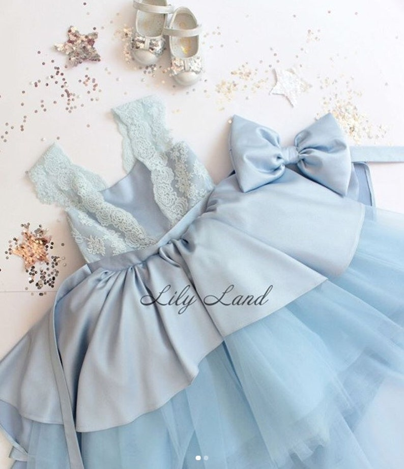 259ed34d7a746 Bleu robe de fille de fleur pageant bleu clair robe robe de