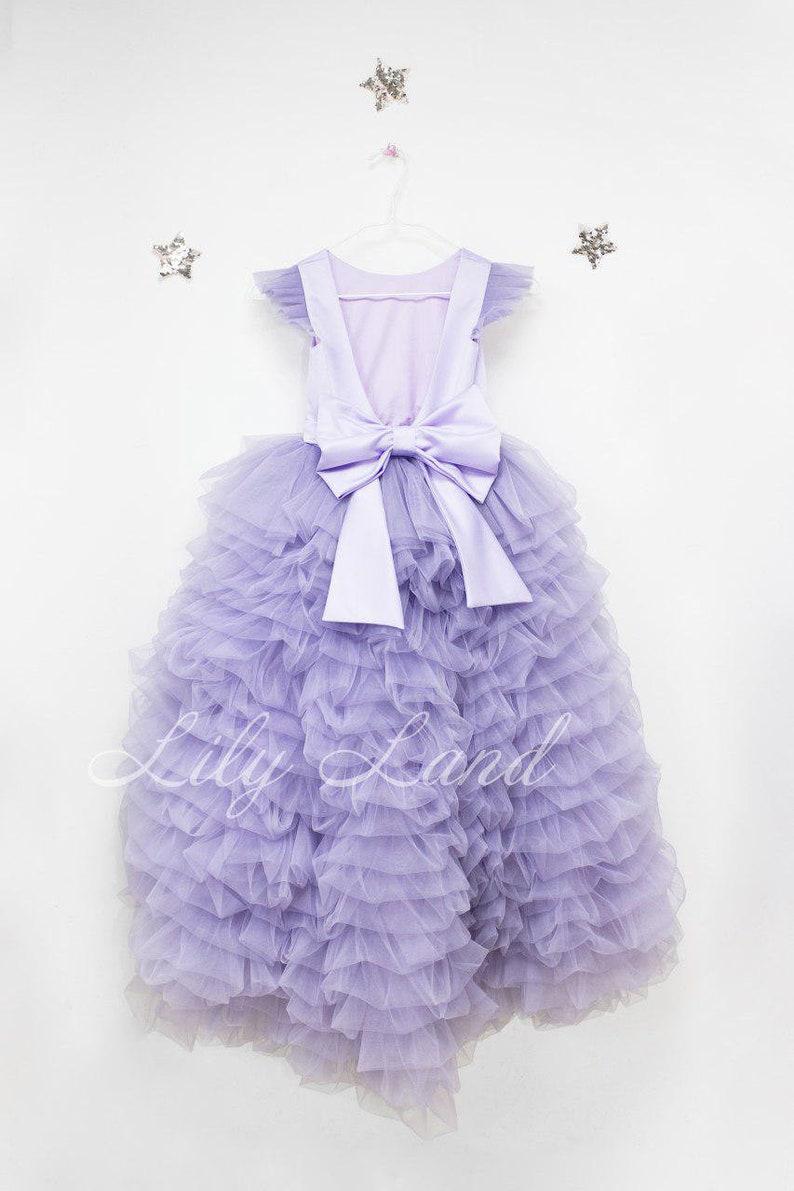 2e4f423dd28 Lavender long ball gown a line girl dress low high length