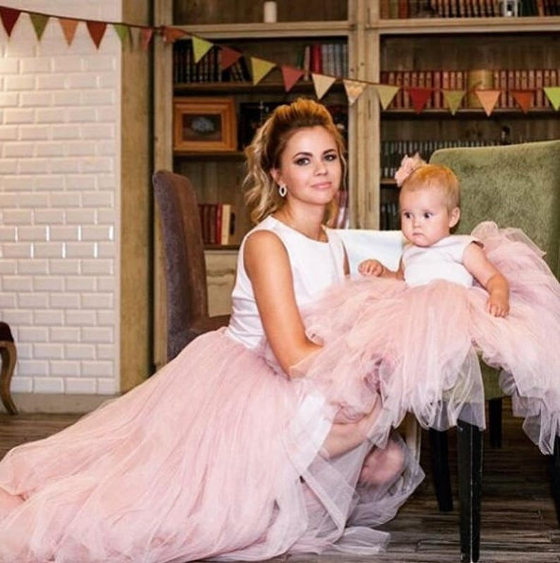 1e032238 Pink beige mother daughter matching dress tulle Mommy and me Christmas  outfits mommy and me dress birthday party wedding tutu dress
