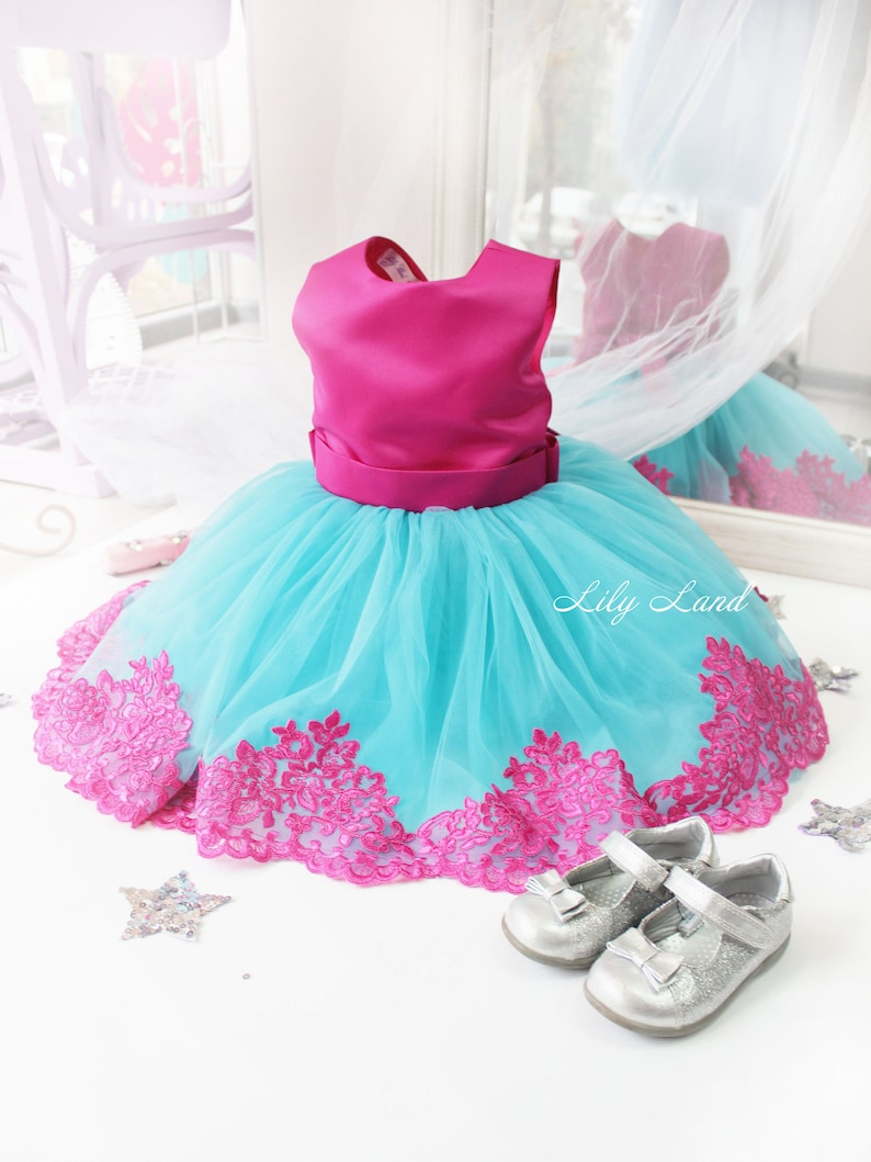 bad2ab3a7 Girl dress turquoise and fuschia tutu dress girls tutu dress