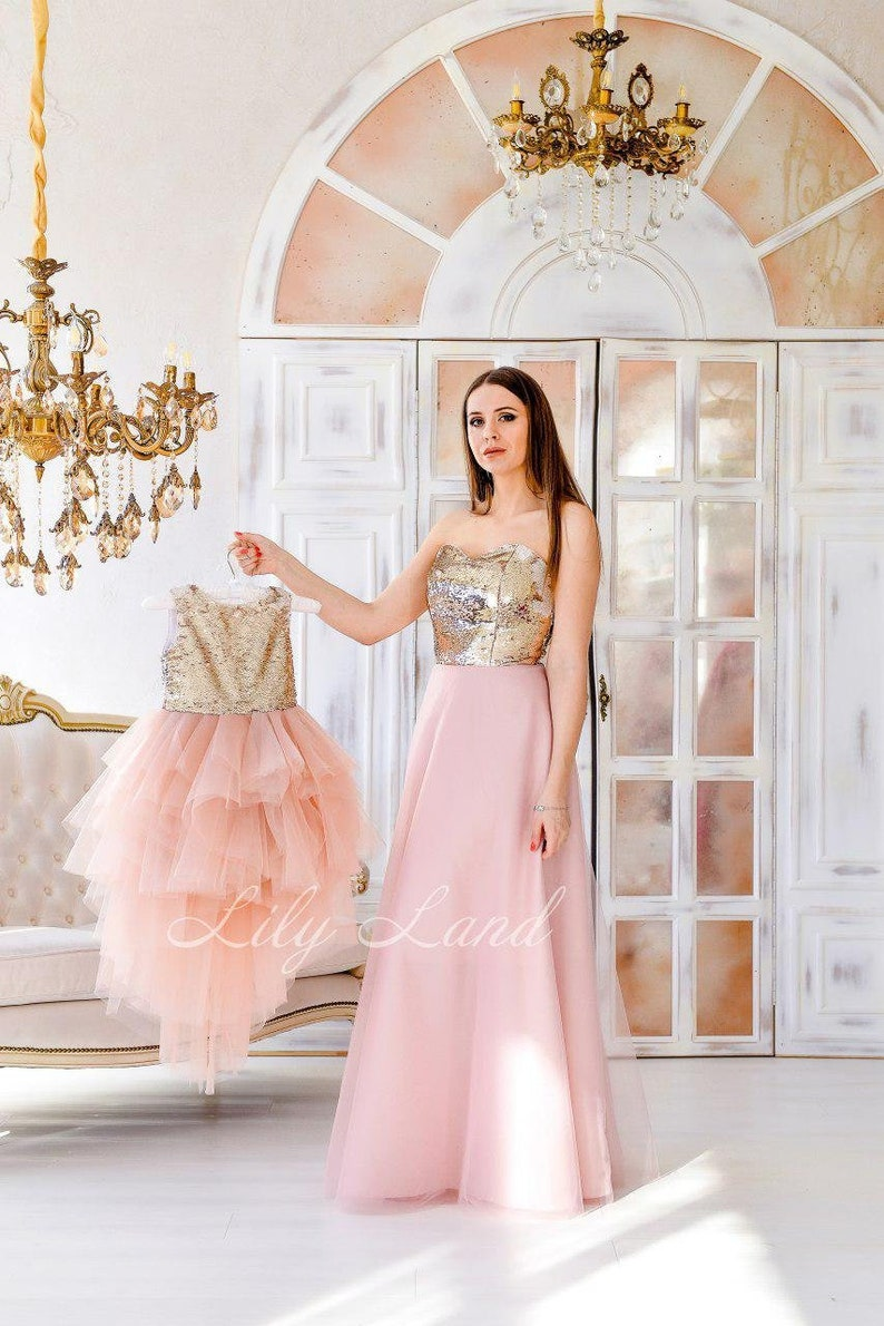Matching Mother Daughter Blush And Gold Wedding Guest Dress Mommy And Me Dresses Blush Pink And Gold Sparkling Set For Mother And Girl