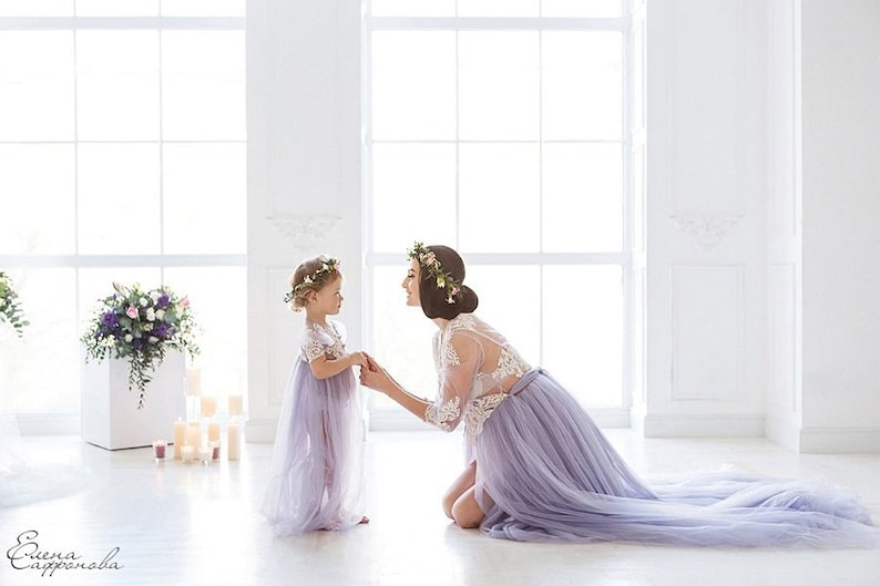 b41f0fa86f723 Lavender Maternity photo matching dresses mother and daughter | Etsy