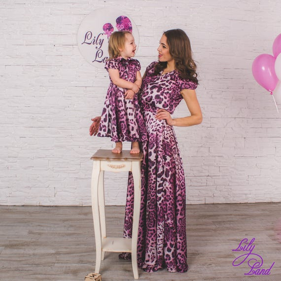 Mother and daughter matching dresses perfect dresses long dresses  leopard dress mommy and me outfits Family matching clothes