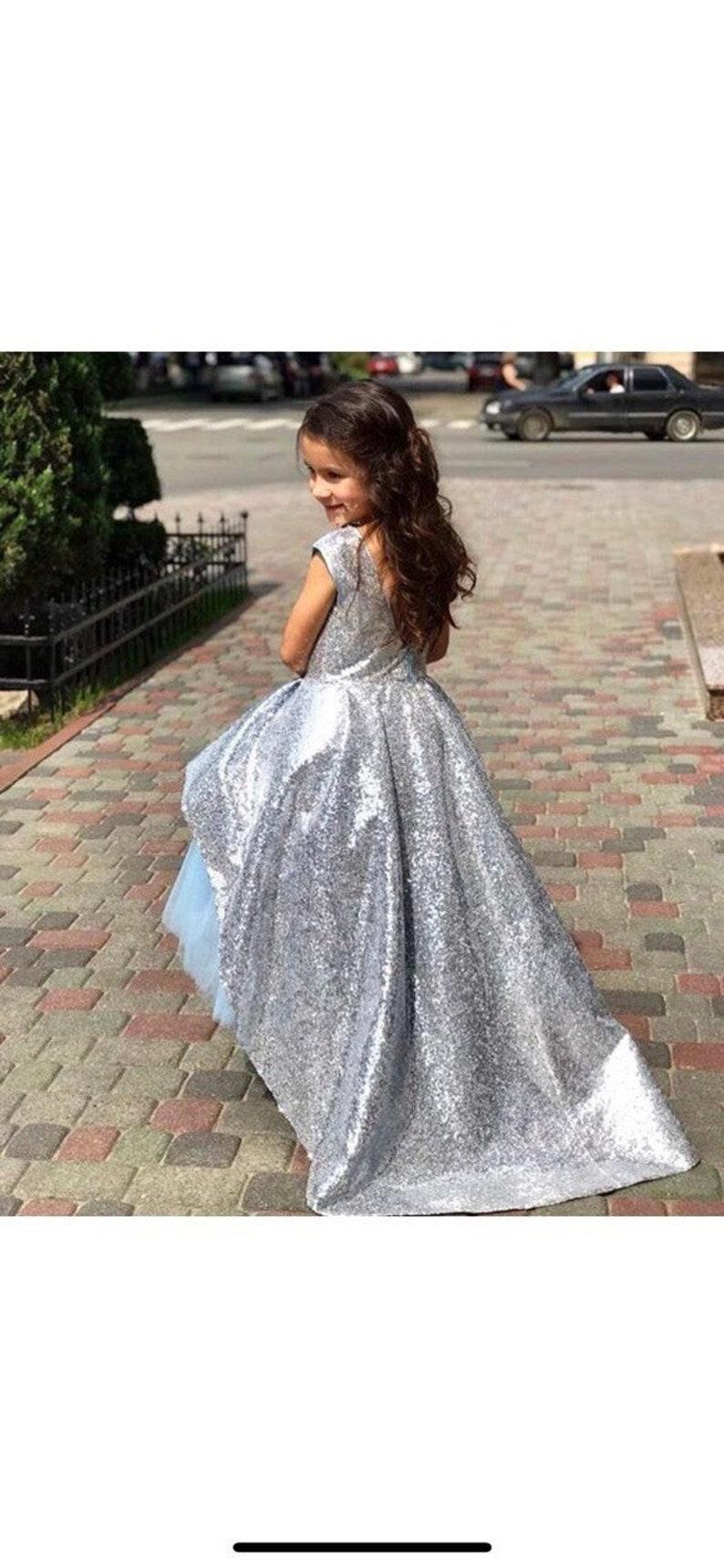 silver sequin dress silver flower girl sequin party dress sparkly dress silver sequin dress grey girl dress sequin fabric opened back dress