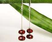Dangle and drop natural amber earrings in royal cherry color women jewelry from genuine amber and silver small faceted red amber earrings