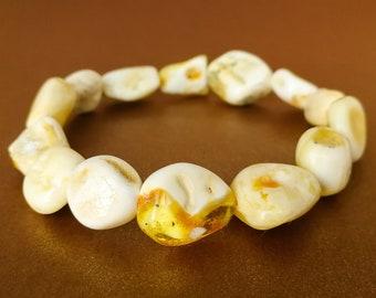 5328c3df8d5 Bracelet en ambre naturel de couleur super blanc