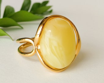 4d6d7ebab Unique royal white amber ring, butterscotch natural amber jewelry ring,  classic amber ring silver 925 gold plated, us size 8 ring for women