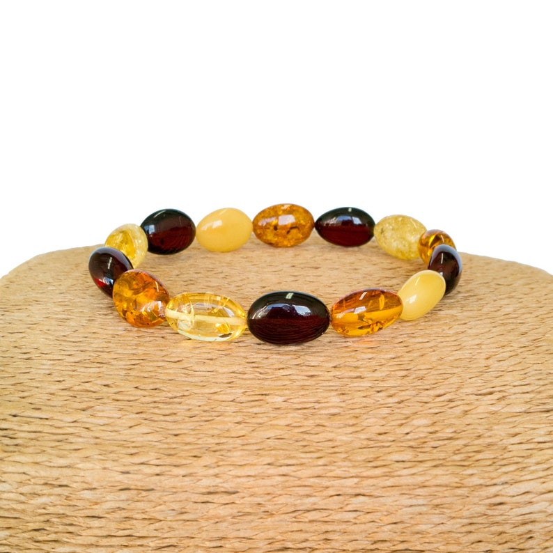 Mix color natural amber plums bracelet multicolor genuine amber beads everyday bracelet cognac lemon dark cherry black colors adjustable