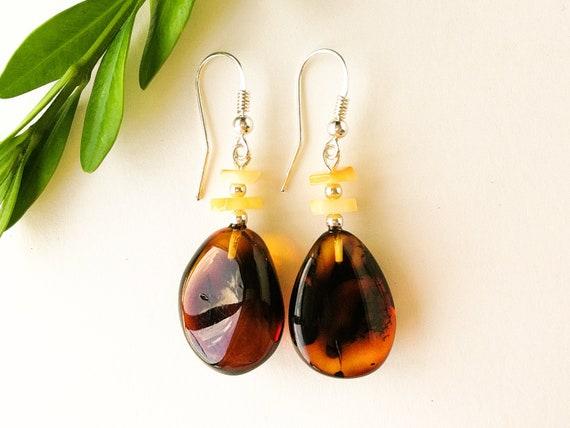 Lovely Natural Baltic Amber Earrings Dark Cherry