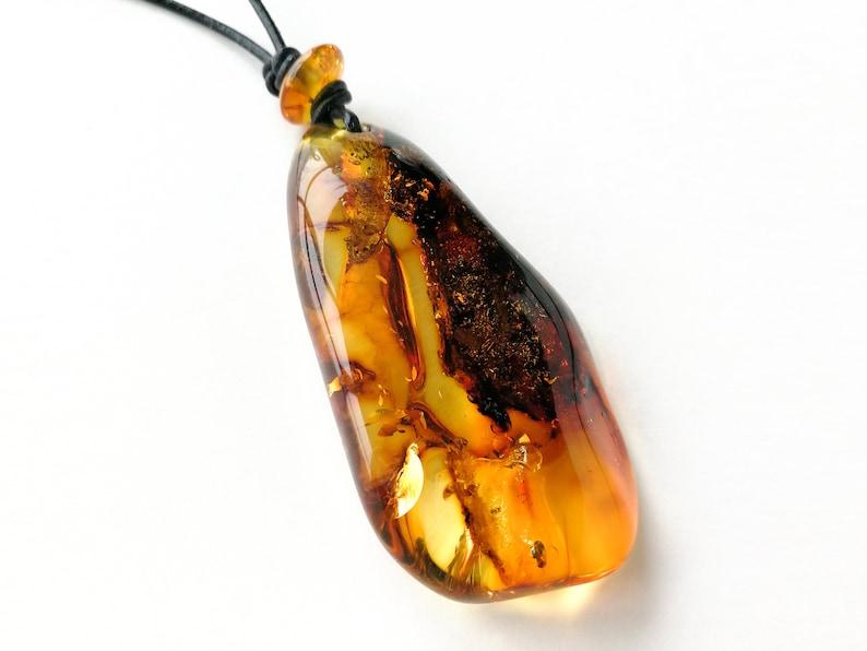 adjustable length Genuine cognac color light amber pendant on natural leather strand natural gemstone unisex jewelry original pendant