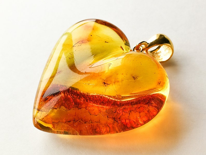 243432e75e Large natural amber royal cognac color heart pendant with | Etsy