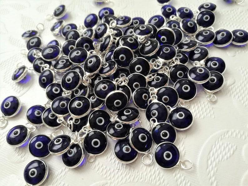 evil eye charms evil eye glass evil eye beads evil eye supplies-Turkish nazar-evil eye charms 50 pcs silver blue evil eye  pendant