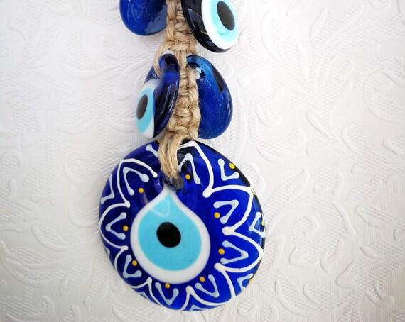 Handmade Macrame Wall Hanging Amulet Wall Decor  Evil Eye Bead 23 cm Blue