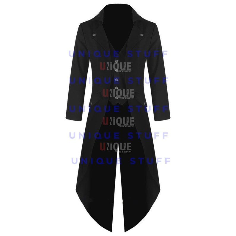 New Stylish Banned Men/'s Steampunk Tailcoat Jacket Black Gothic Victorian Coat By Unique Stuff