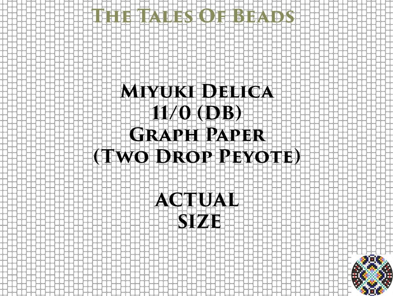 graphic regarding Bead Size Chart Printable identified as 2 Reduce Peyote 11/0 Miyuki Delica Beading Graph Paper Real Dimensions Peyote Seed Bead Graph Paper Miyuki DB Beading Graph Printable PDF Charts