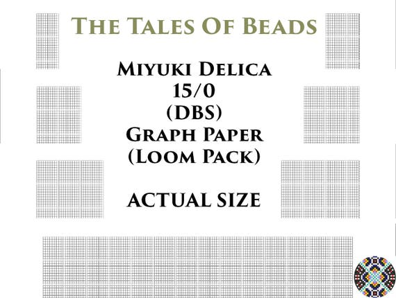 image relating to Printable Seed Bead Size Chart called 15/0 Miyuki Delica Beading Graph Paper Authentic Dimensions Seed Bead Graph Paper Miyuki DBS Beading Graph Templates Loom Pack - Printable PDF Charts