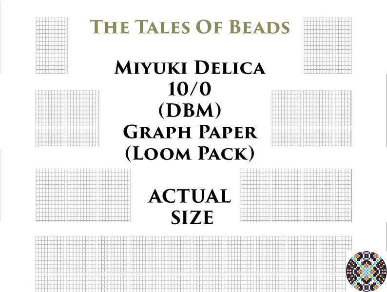 graphic relating to Bead Size Chart Printable known as 10/0 Miyuki Delica Beading Graph Paper Genuine Measurement Seed Bead Graph Paper Miyuki DBM Beading Graph Templates Loom Pack - Printable PDF Charts