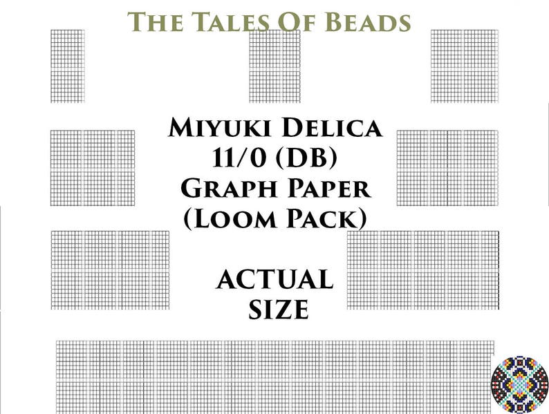 image regarding Bead Size Chart Printable called 11/0 Miyuki Delica Beading Graph Paper True Dimensions Seed Bead Graph Paper Miyuki DB Beading Graph Templates Loom Pack - Printable PDF Charts