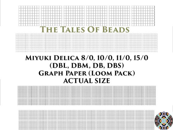 image relating to Printable Seed Bead Size Chart named Miyuki Delica Beading Graph Paper True Dimensions - Seed Bead Graph Paper Loom - Miyuki Beading Graph Templates Loom Pack - Printable PDF Charts