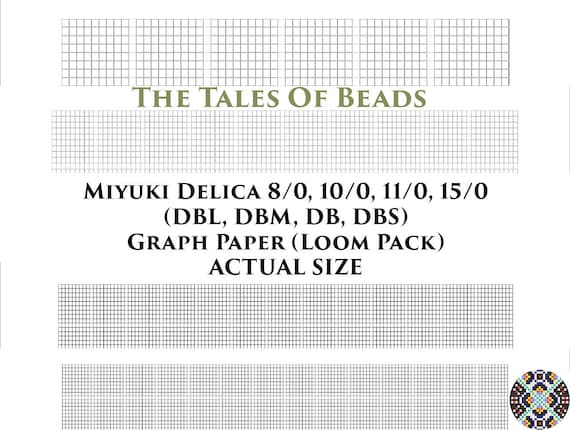 image regarding Printable Seed Bead Size Chart referred to as Miyuki Delica Beading Graph Paper Serious Dimensions - Seed Bead Graph Paper Loom - Miyuki Beading Graph Templates Loom Pack - Printable PDF Charts