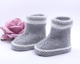 Baby booties knitted hand style ankle boots - size newborn to 3 months - color gray clear with white stripes