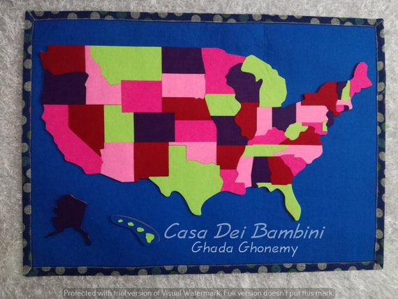 Montessori United States Of America Puzzle Map, Geography Lesson,  Educational Toys, Handmade Craft, Gift For kids, Puzzle Games, felt map