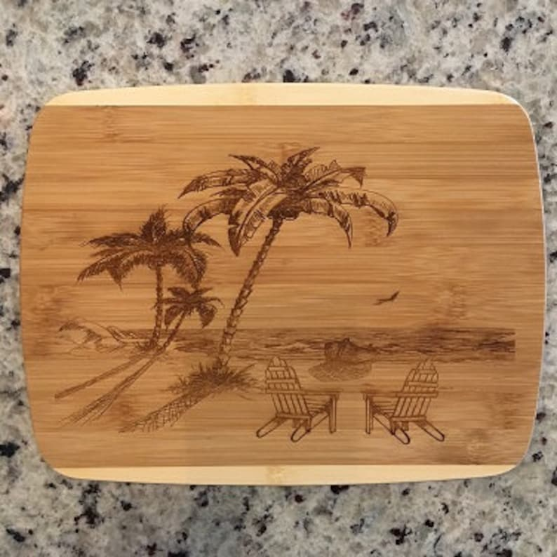 1-3 Days Comes to you FAST Beach Adirondaks Cutting Board Free Shipping to mainland USA Can be personalized for you.
