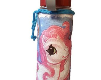 ed086e2b9a My little pony decoupage plastic flask, gift for kids, gift for birthday,  back to school or school beginner water bottle free deliery