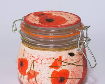 Superieur Red Poppy Kitchen Decor Canister Floral Romantic Decoupage Storage Jar  Garden Decor Glass Gift For Her, Wife, Friend Teacher,birthday Gift