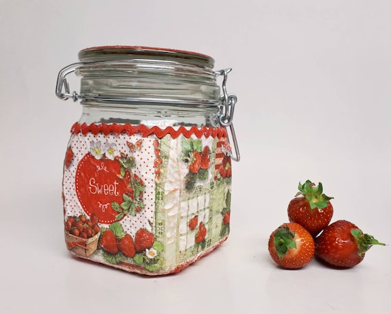 Strawberry Kitchen Decor Canister Fruit Red Decoupage Etsy