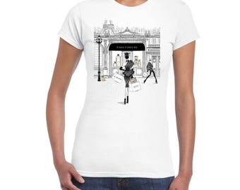 Paris Perfums Artistic Design On Ladies Junior Fit T-Shirt..!
