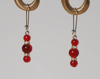 Bronze Pearl Earrings red glass, gold and rhinestones