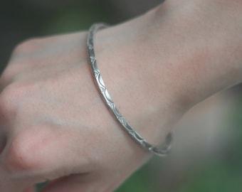 Hilltribe Style Bangle, Silver Bracelet,Tribal Silver Bracelet, gift for her