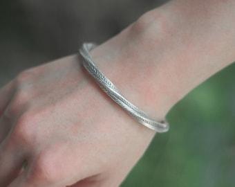 Hilltribe Style Bangle, Silver twist Bracelet,Tribal Silver Bracelet, gift for her