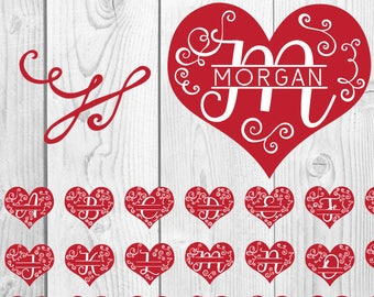 FREE SVG & PNG Link | Heart Monogram Cut Files, svg, png, dxf, eps | Commercial Use | circuit, cameo silhouette | Valentine Cut File